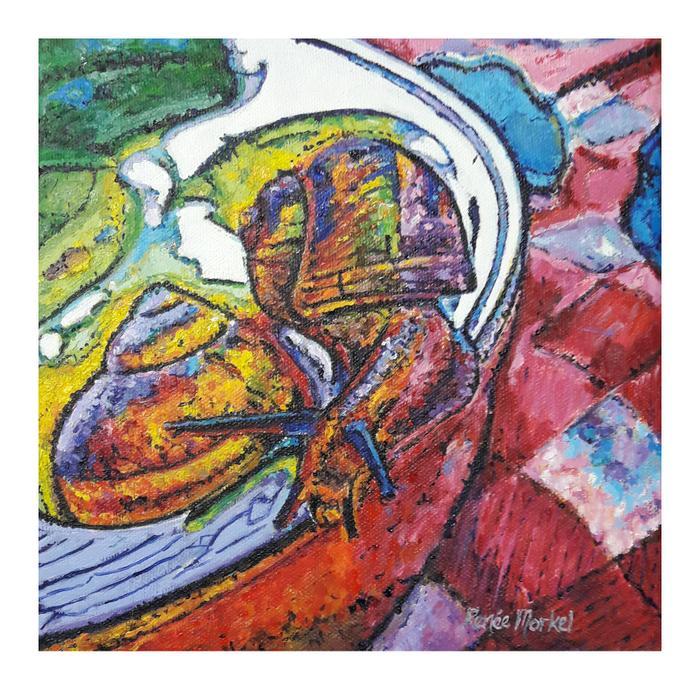 Renée Morkel    L'Escargot  Seurat's snail    Oil on canvas    20 x 20cm    R 950