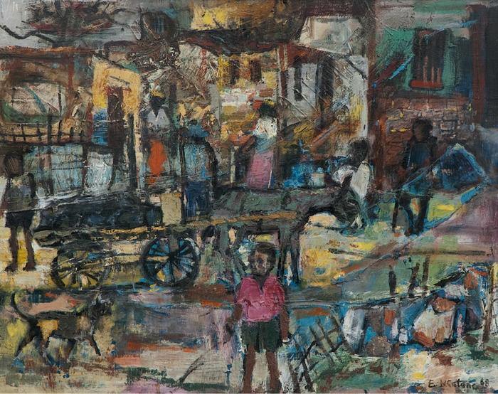 Township scene with donkey cart - SOLD