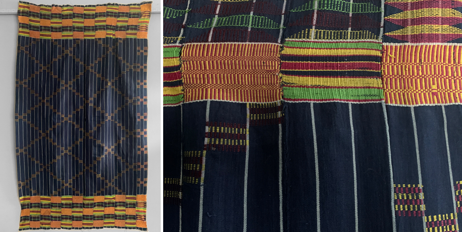 W. African Ghanian Ewe 'kenti ' cotton mantle cloth for a boy or woman • mid 20th cent