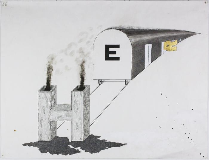 E (H on the tracks, R caught in door)