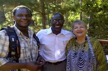 Gabrielle with her partner Sylvester and sound recordist Jabu Msomi (left)