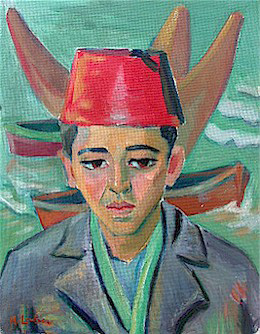 Malay boy with fez - SOLD
