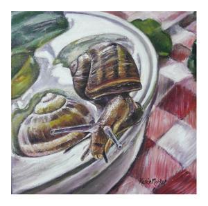 Renée Morkel    L'Escargot  Chardin's snail    Oil on canvas    20 x 20cm    R 950