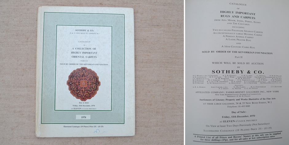 Kevorkian Collection Oriental Carpets ( Part II only ) • Sotheby's auction catalogue London 1970