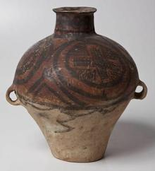 A CHINESE NEOLITHIC MACHANG PHASE PAINTED RED-POTTERY TWO-HANDLED JAR, 2300-2000BC