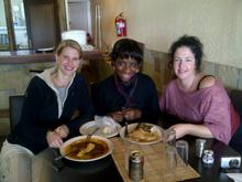 Camerawoman Karen Landsberg and Lisa Chait with Betty Sanga