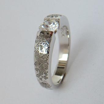 thumbnail for Platinum semi-tension ring with garden pattern enraving