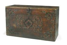 A MONGOLIAN SHANMU (FIR WOOD) PAINTED AND LACQUERED CHEST, QING DYNASTY, EARLY 19TH CENTURY