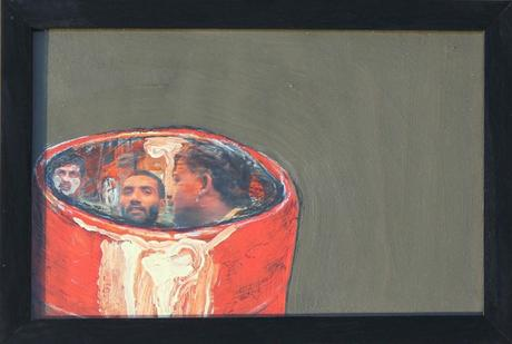 thumbnail for Orange Barrel, acrylic paint and oil pastel on 8 x 14