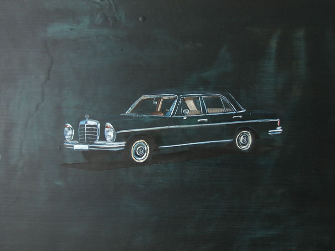 Night Mercedes, oil on board, 30 x 42 cm, 2006