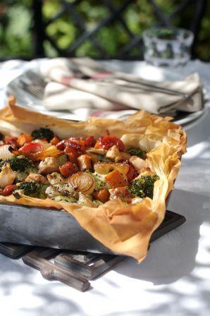 Phyllo chicken pie with roasted veggies