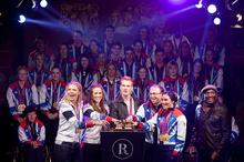 L-R: Anna Watkins, Helen Glover, Greg Rutherford, Barney Story and Sarah Storey with Noah Stewart