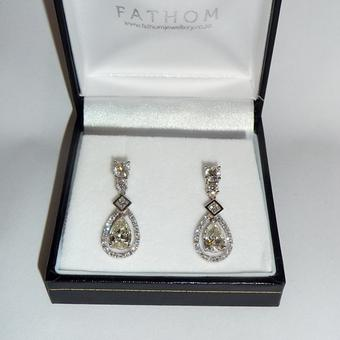 thumbnail for Fancy yellow pear diamond earrings