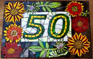 50 Gazania House Number glass mosaic on super wood. SOLD  for R1500