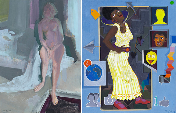 Jean Welz - 'Nude in a purple shadow', Richard Mudariki - 'Wall picture'