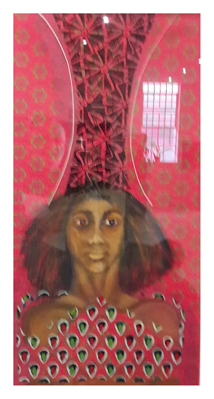 Yvette Polovin       ShweShwe Queen 2      acrylic on fabric and on perspex       770X410      R4000