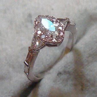 thumbnail for Pink multi-cut diamond ring