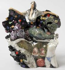 GIOVANNA BIALLO STONE (1954-): 'MERMAID IN WAVES' FIGURINE
