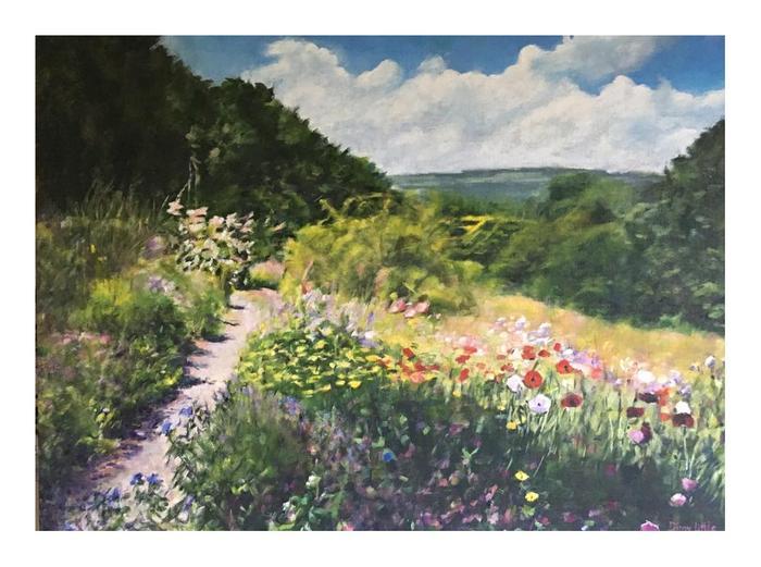 Dinny Little field of flowers Oil on board  60 x 80 cm Sold