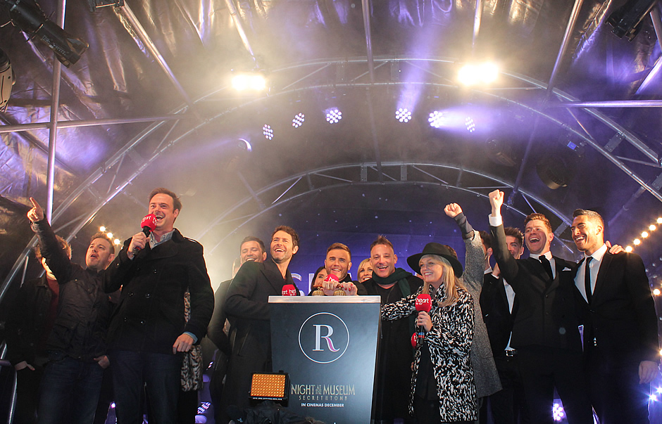 Take That switch on the Regent Street Christmas Lights 2014