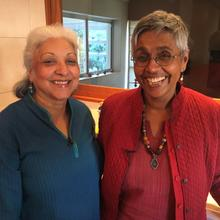 Nirmala shares Ayurvedic knowledge with fellow journeyer Damyanti Gajjar
