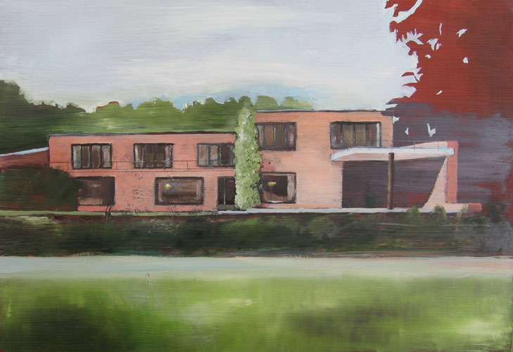 House with Red Tree, oil on board, 30 x 42 cm, 2006
