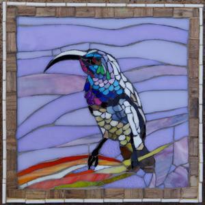 Small glass mosaic mural of sunbird. SOLD for R700