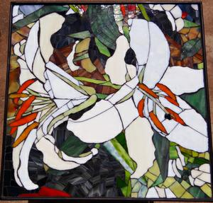2 Lily glass mosaic on wrought iron table. SOLD for R3000