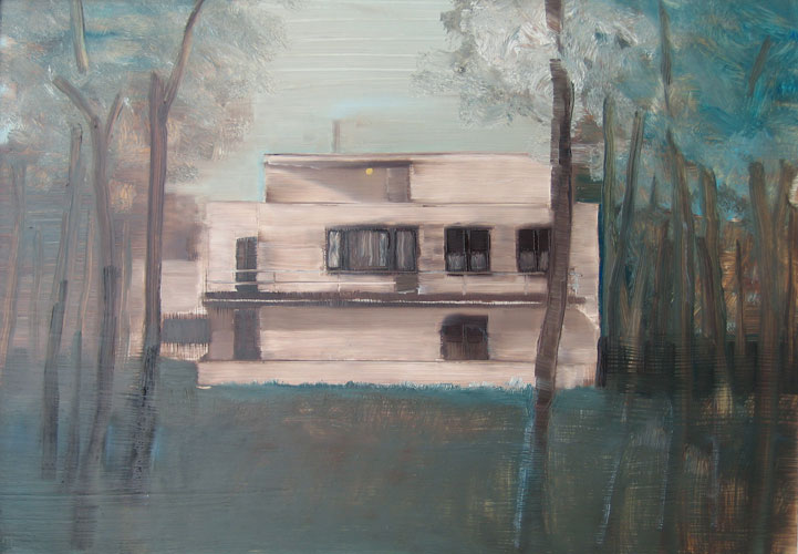 House With Yellow Light, oil on board, 30 x 42 cm, 2006
