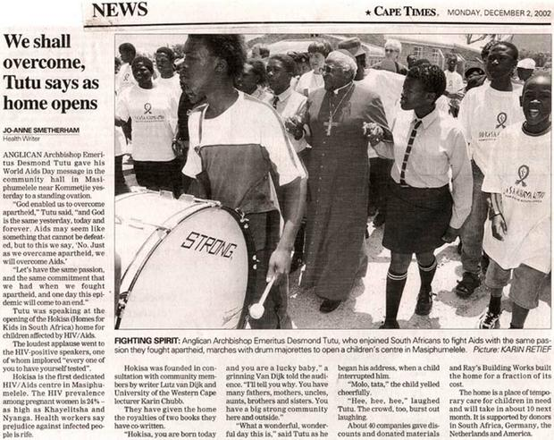 Article in the Cape Times of December 2, 2002