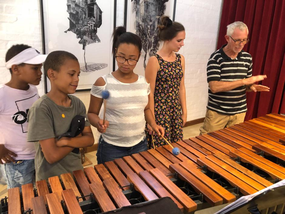 Marimba lesson with Cherilee Adams from Duo Infinity
