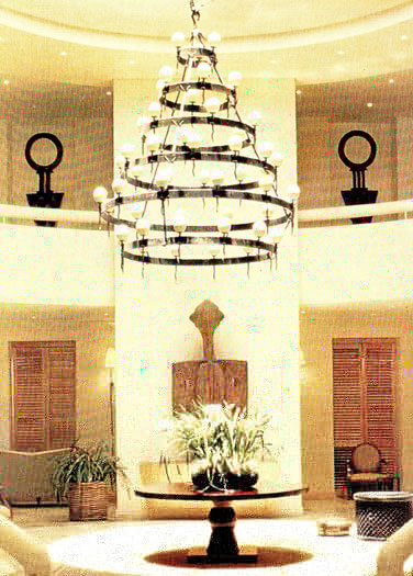Six tiered chandelier with 51 ostrich egg shades