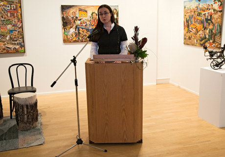 Mia Hannula at the opening in Tampere