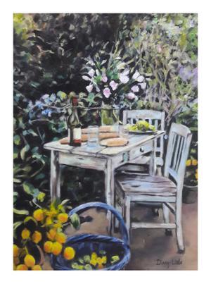 Dinny Little     Wild Garden Picnic     Oil on board     30 x 40cm     R2500