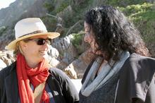 Alix and series host Lisa Chait chat on Noetzie beach
