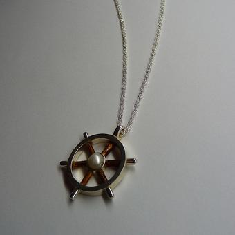 thumbnail for Silver helm pendant with wooden spokes and cultured pearl centre