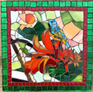 Bird on coral flower glass mosaic pot stand. R700