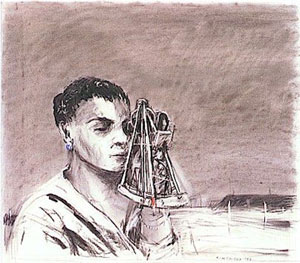 William Kentridge - Nandi viewing the landscape with Theodolite (1993)