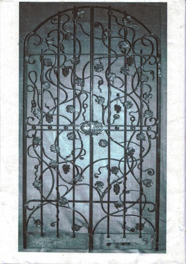 Wine cellar gate with vine detail