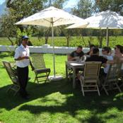 Tasting outside at Solms Delta winery
