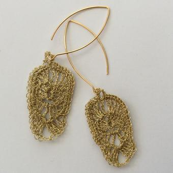 thumbnail for gold iris earrings