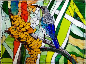 Glass mosaic mural of female malachite sunbird. R3500
