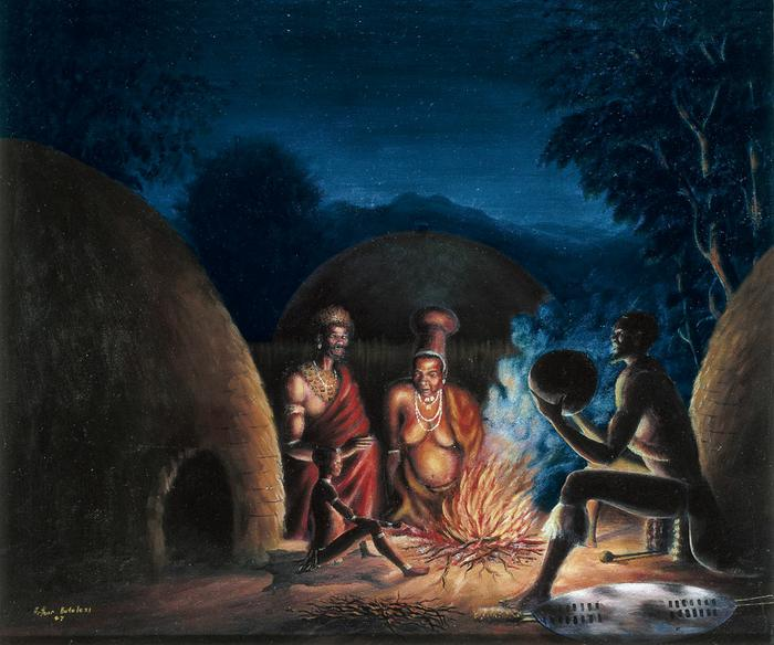 Night scene in a Zulu kraal (1947)