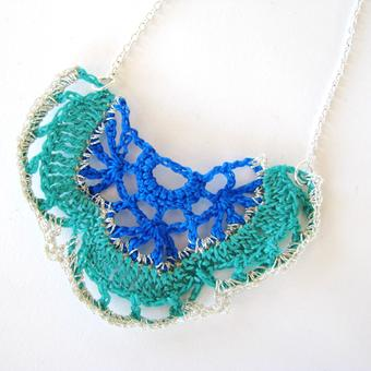 thumbnail for Bat motif necklace blue and torquoise