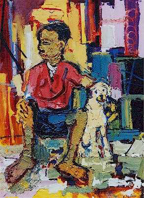 Boy with a dog - SOLD