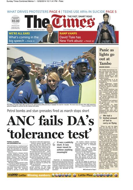 The Times (SA) - Democratic Alliance (DA) march on Luthuli House