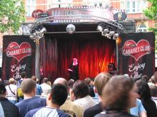 Cabaret stage in Leicester Square at Pride London