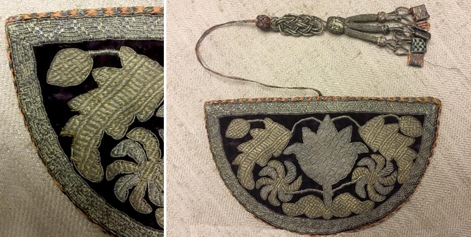 Caucasian small fine gilt embroidered comb case • 19th cent