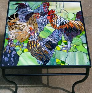 Hen & Rooster glass mosaic on wrought iron table. SOLD for R3000