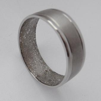 thumbnail for Men's laser engraved wedding band with wallpaper pattern